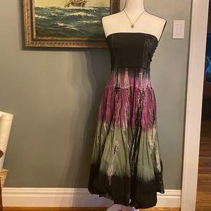 Bisou Bisou Tie Dye Strapless Dress Large F1